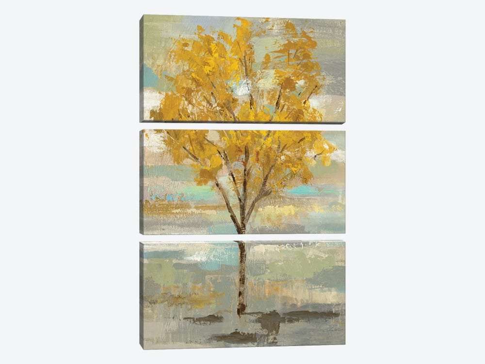 Golden Tree And Fog I by Silvia Vassileva 3-piece Canvas Art