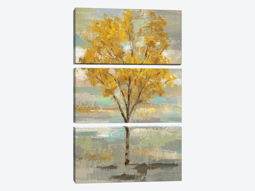 Golden Tree And Fog I by Silvia Vassileva 3-piece Canvas Art