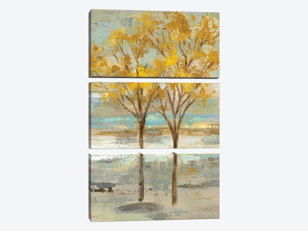Golden Tree And Fog II by Silvia Vassileva 3-piece Canvas Art Print