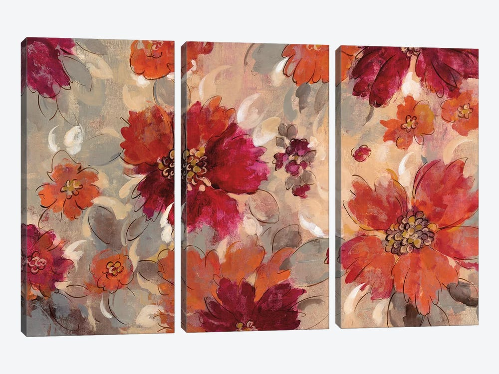 Magenta And Coral Floral 3-piece Canvas Art