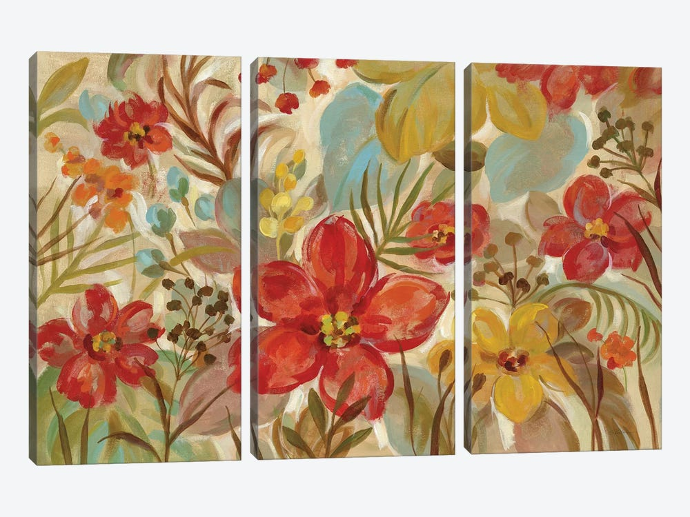 Tropical Flowers by Silvia Vassileva 3-piece Canvas Art