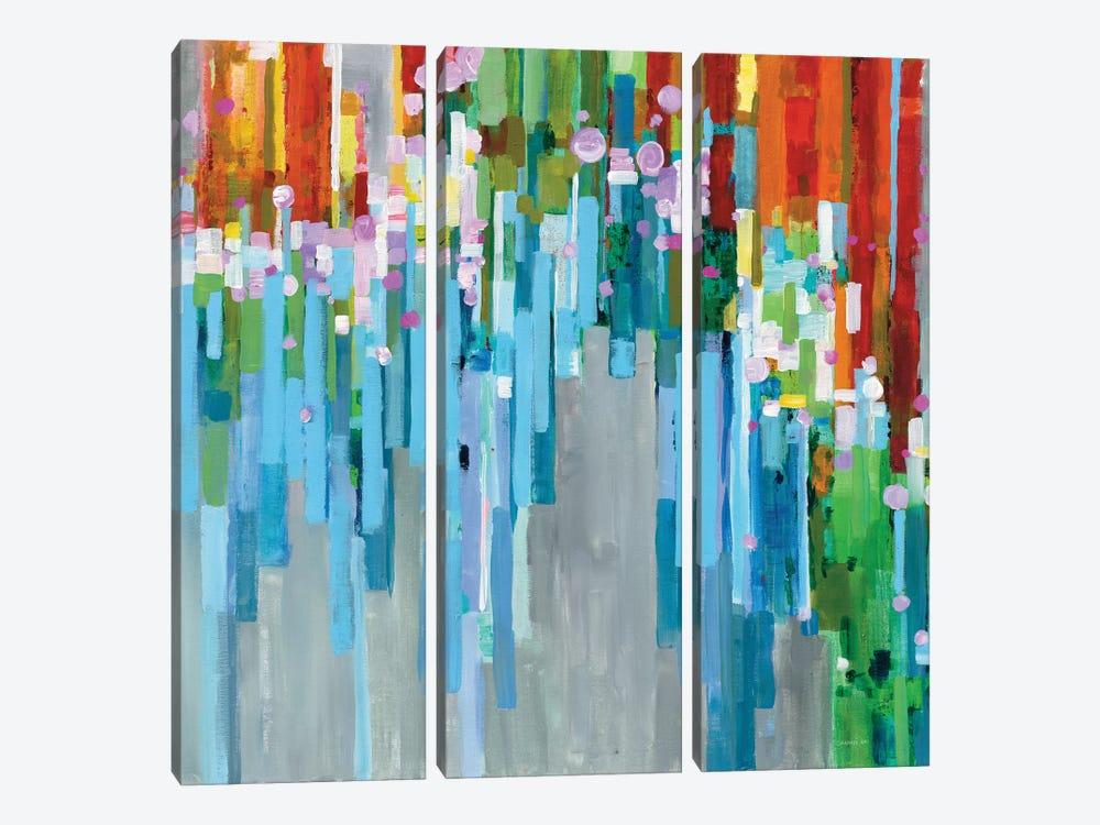Rainbow Of Stripes by Danhui Nai 3-piece Canvas Art