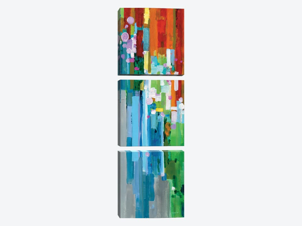 Rainbow Of Stripes Panel II by Danhui Nai 3-piece Canvas Print