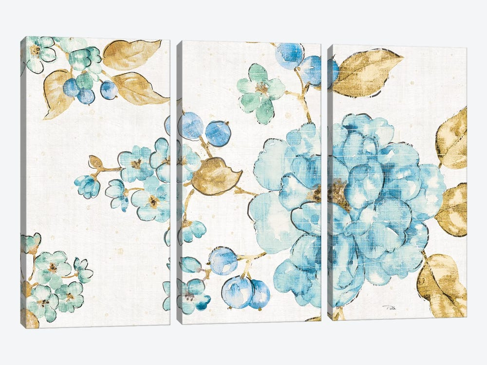 Blue Blossom I by Pela 3-piece Canvas Art Print