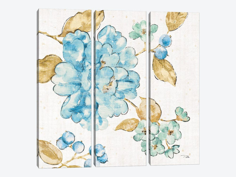 Blue Blossom II by Pela 3-piece Canvas Art