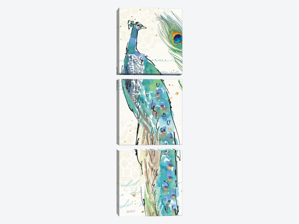 Peacock Garden IV by Anne Tavoletti 3-piece Canvas Art Print