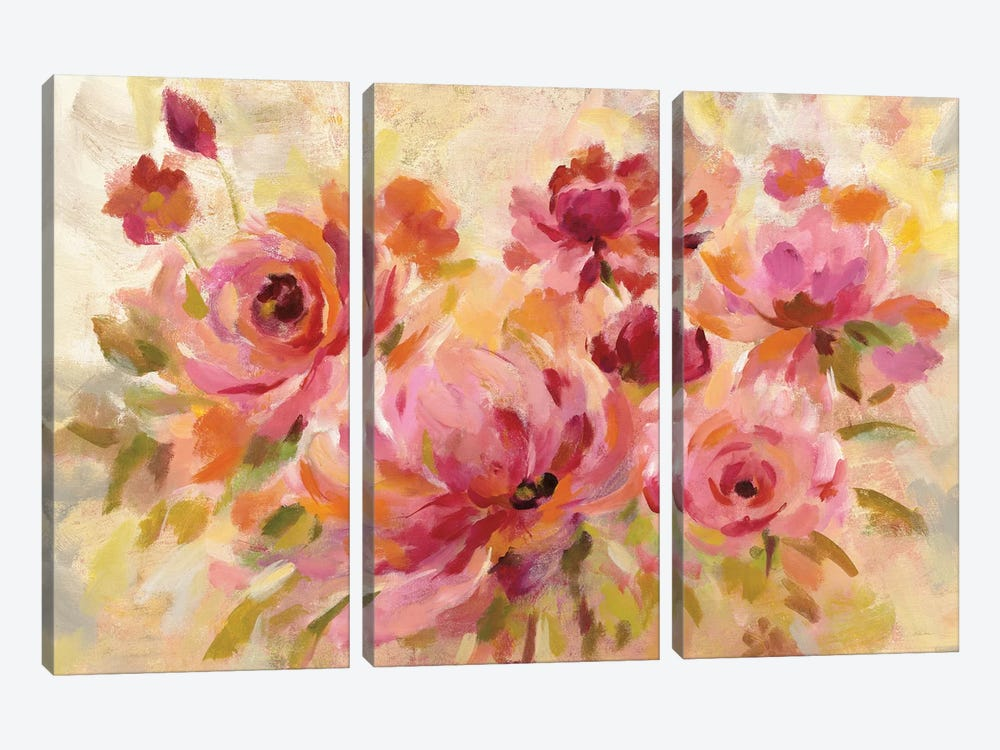 Romantic Bouquet Crop by Silvia Vassileva 3-piece Canvas Artwork