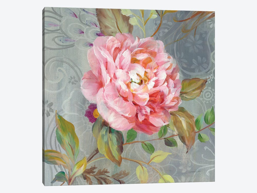 Peonies And Paisley II 1-piece Canvas Art