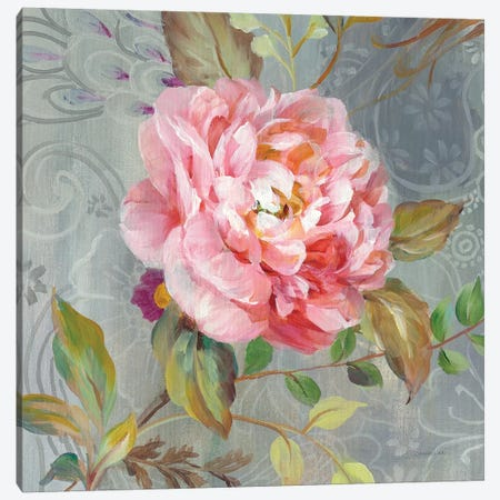 Peonies And Paisley II Canvas Print #WAC6767} by Danhui Nai Canvas Wall Art