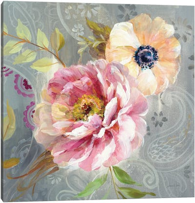 Peonies And Paisley III Canvas Art Print