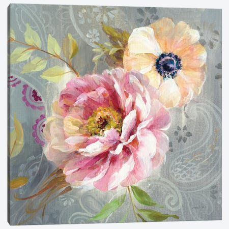 Peonies And Paisley III Canvas Print #WAC6768} by Danhui Nai Art Print