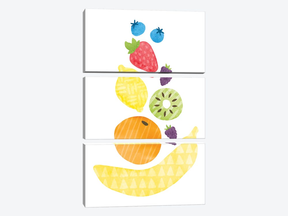 Funky Fruit I by Moira Hershey 3-piece Canvas Print