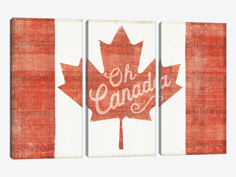 Oh Canada Flag by Sue Schlabach 3-piece Canvas Art