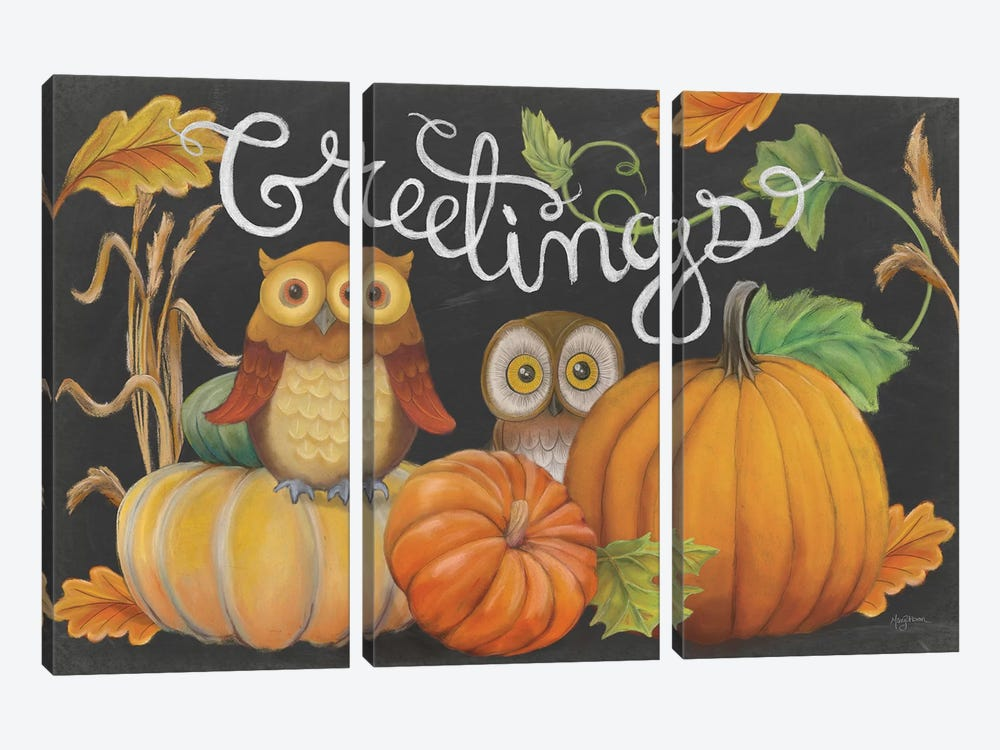 Harvest Owl I by Mary Urban 3-piece Canvas Wall Art