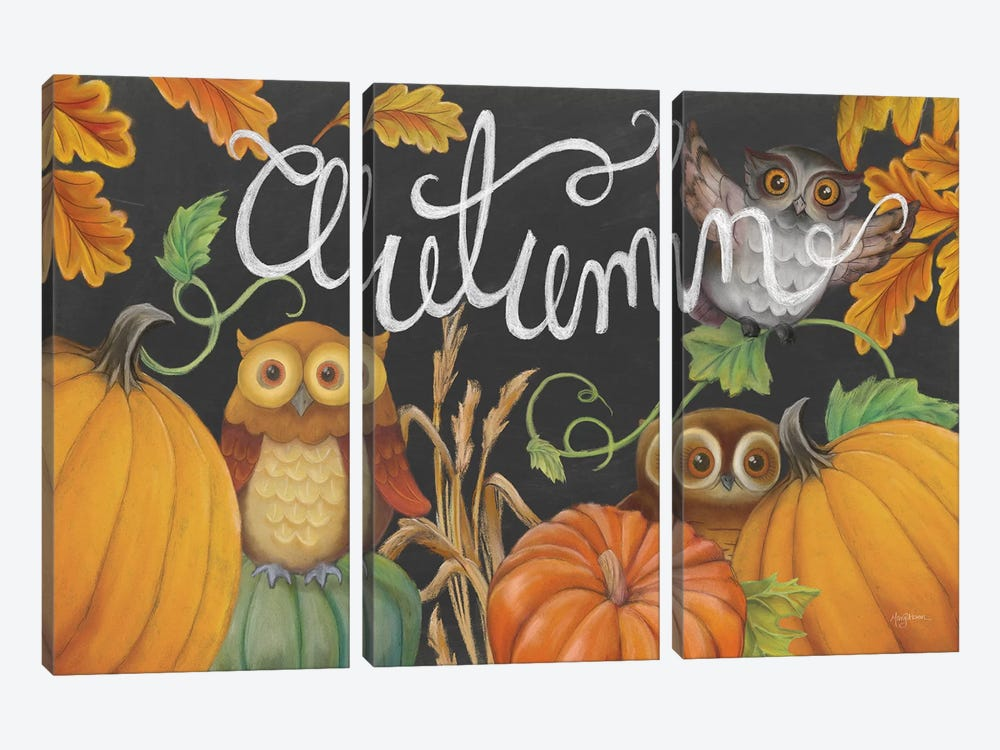 Harvest Owl II by Mary Urban 3-piece Canvas Print