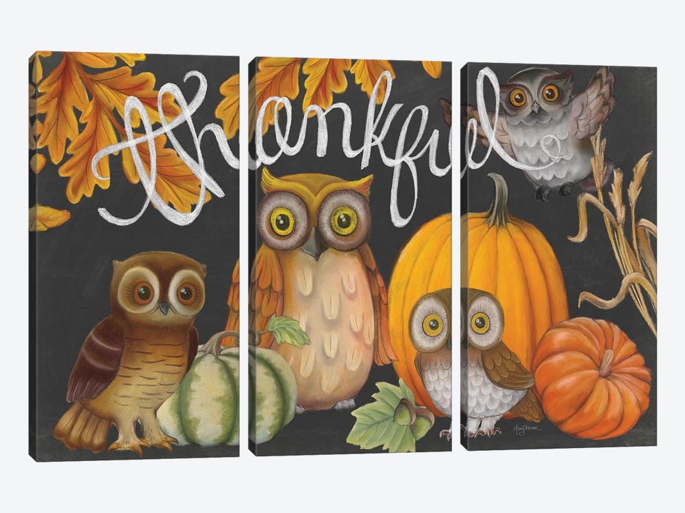Harvest Owl III by Mary Urban 3-piece Canvas Art