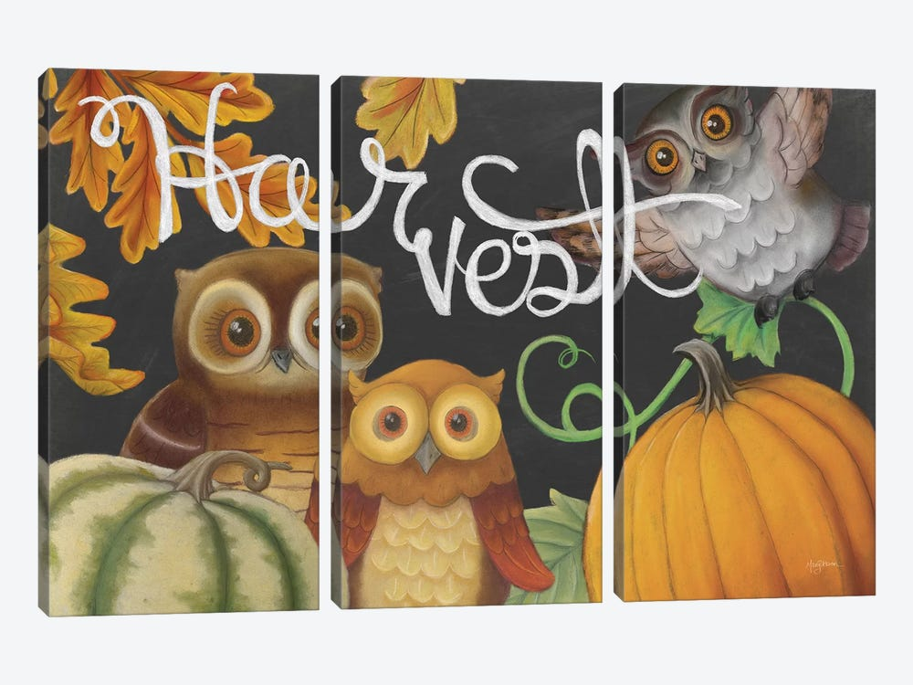 Harvest Owl IV by Mary Urban 3-piece Canvas Art Print