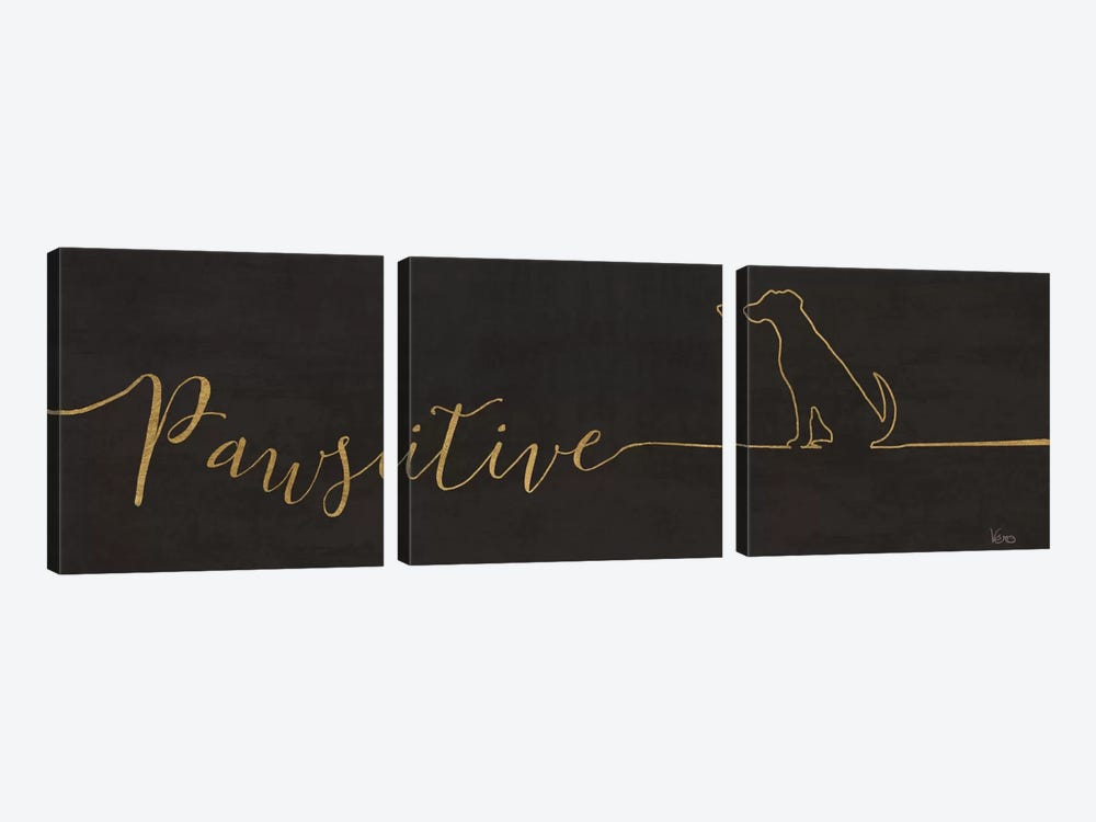 Underlined Dogs I In Black by Veronique Charron 3-piece Art Print