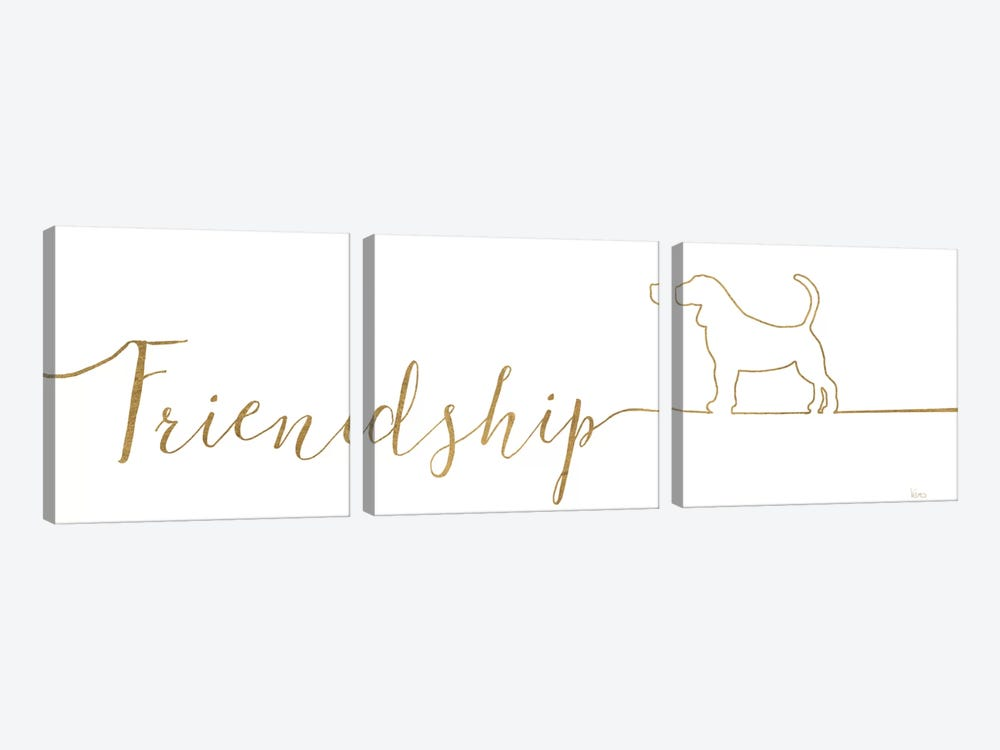 Underlined Dogs II by Veronique Charron 3-piece Canvas Wall Art