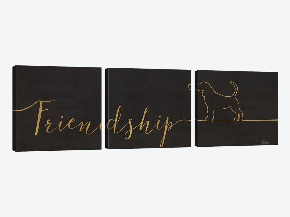Underlined Dogs II In Black 3-piece Canvas Artwork