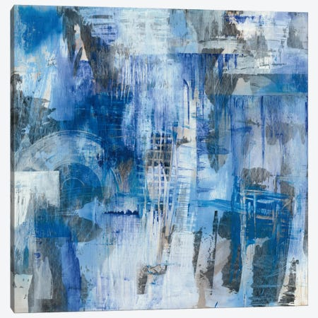 Industrial Blue Canvas Print #WAC6927} by Melissa Averinos Canvas Artwork