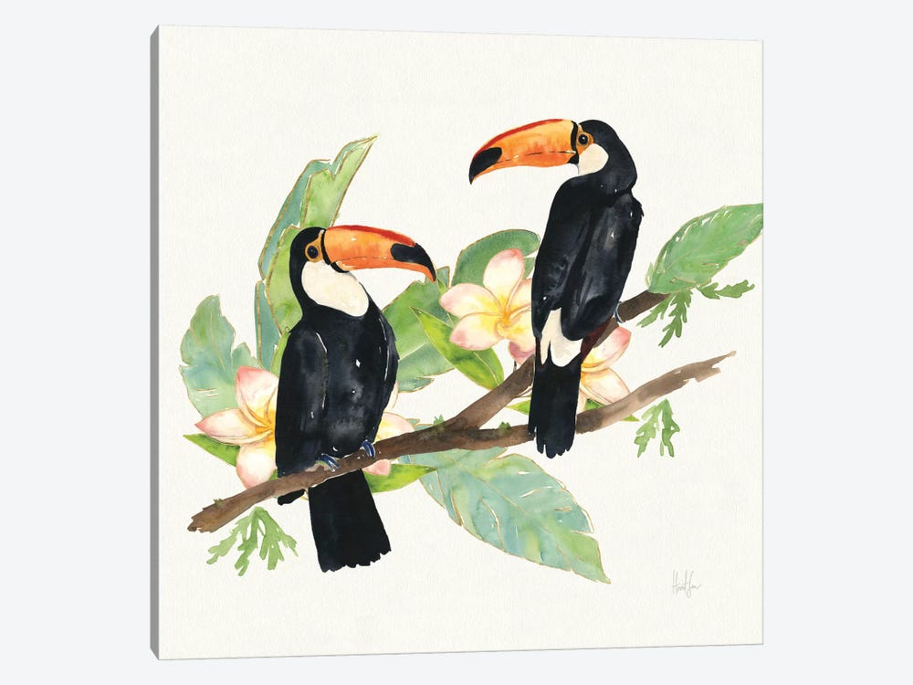 Tropical Fun Bird I (Leafy Branch) by Harriet Sussman 1-piece Canvas Art