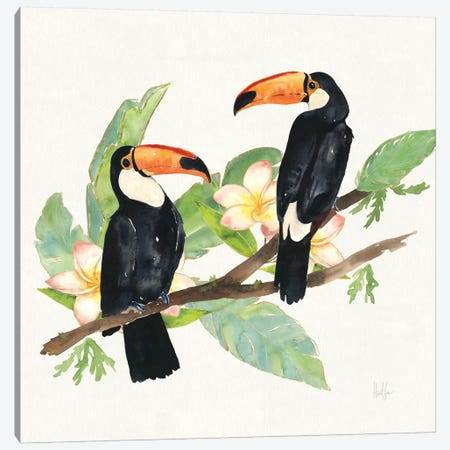 Tropical Fun Bird I (Leafy Branch) Canvas Print #WAC6944} by Harriet Sussman Canvas Art