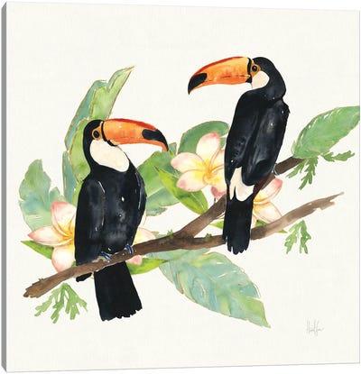 Tropical Fun Bird I (Leafy Branch) Canvas Art Print