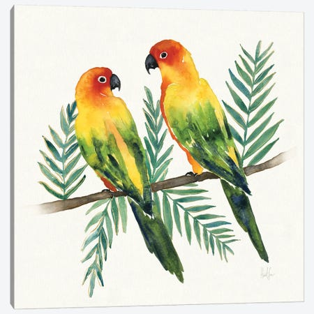 Tropical Fun Bird III (Leafy Branch) Canvas Print #WAC6945} by Harriet Sussman Canvas Artwork