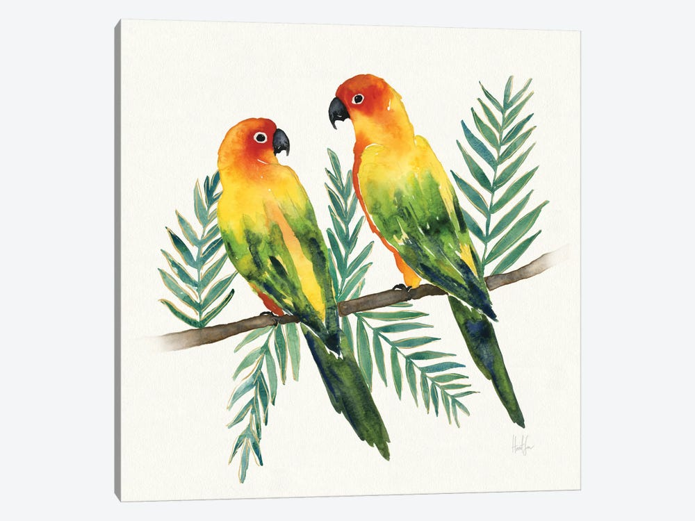 Tropical Fun Bird III (Leafy Branch) 1-piece Canvas Print