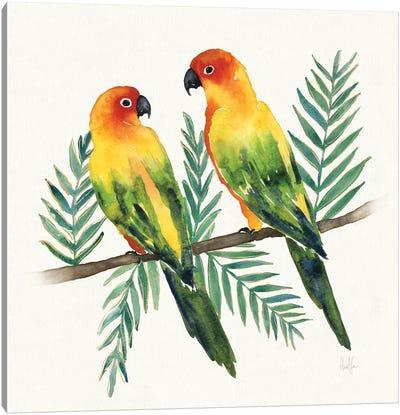 Tropical Fun Bird III (Leafy Branch) Canvas Art Print