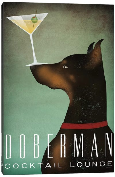 Doberman Cocktail Lounge Canvas Art Print
