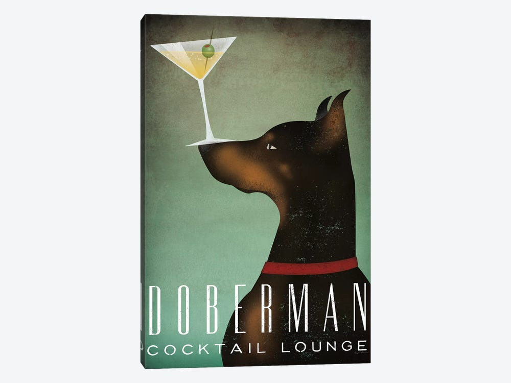 Doberman Cocktail Lounge by Ryan Fowler 1-piece Canvas Wall Art