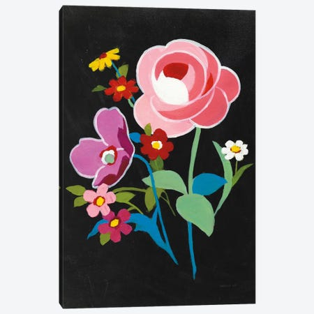 Alpine Bouquet I On Black 3-Piece Canvas #WAC6994} by Danhui Nai Canvas Print