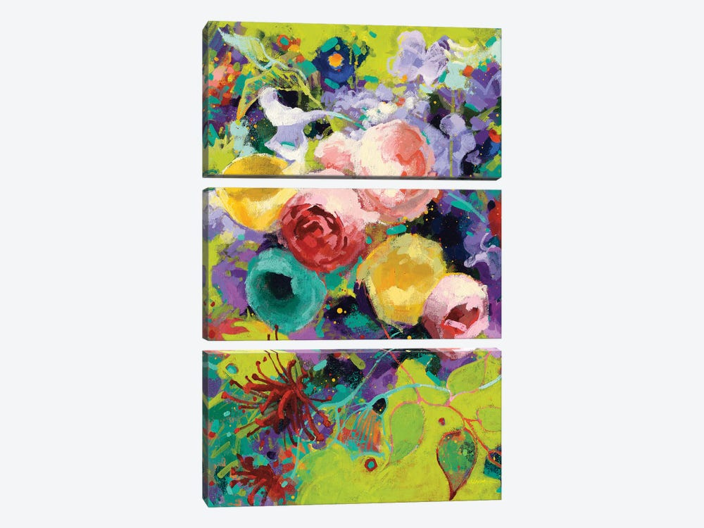 Des Roses by Shirley Novak 3-piece Canvas Art Print