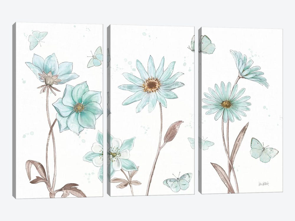 Bits Of Blue I by Katie Pertiet 3-piece Canvas Wall Art
