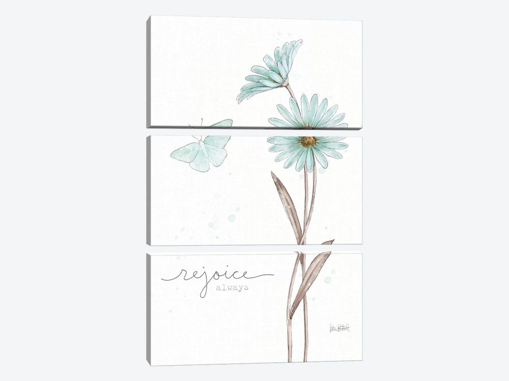 Bits Of Blue V by Katie Pertiet 3-piece Canvas Wall Art