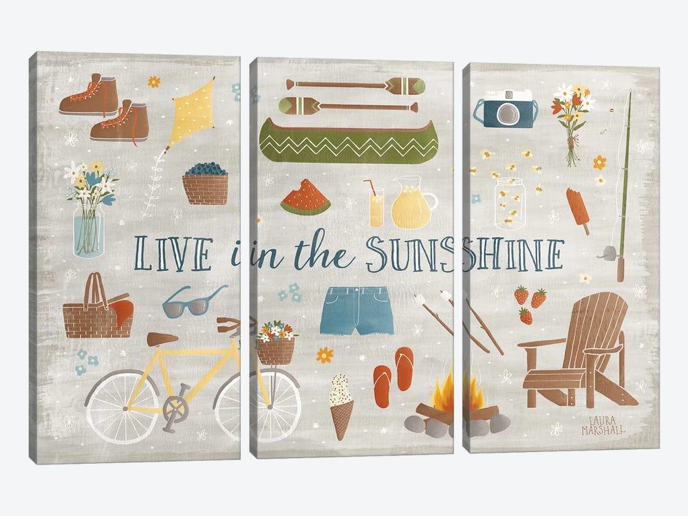 Summer Sunshine III by Laura Marshall 3-piece Canvas Wall Art
