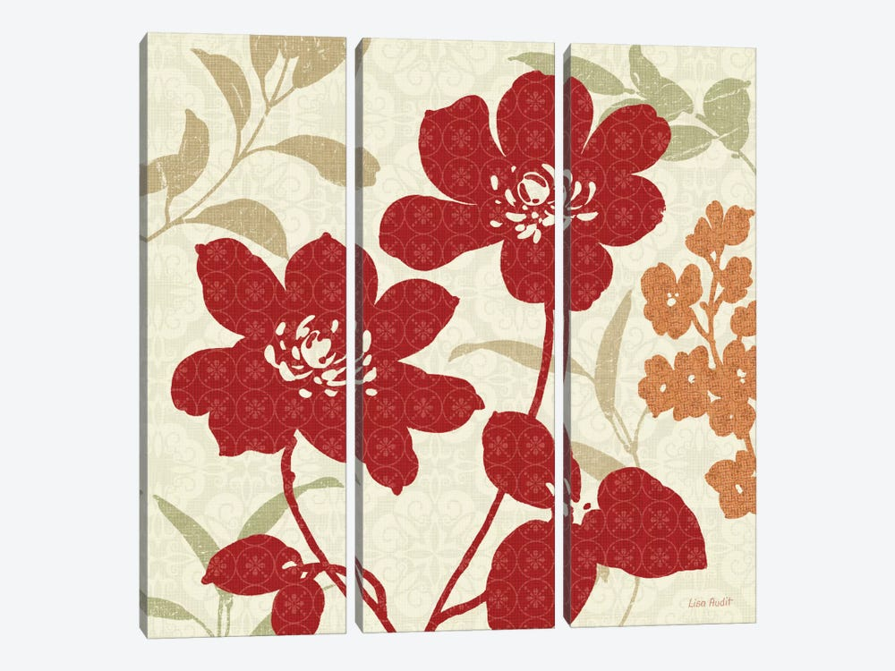 Floral Shadows I by Lisa Audit 3-piece Canvas Artwork