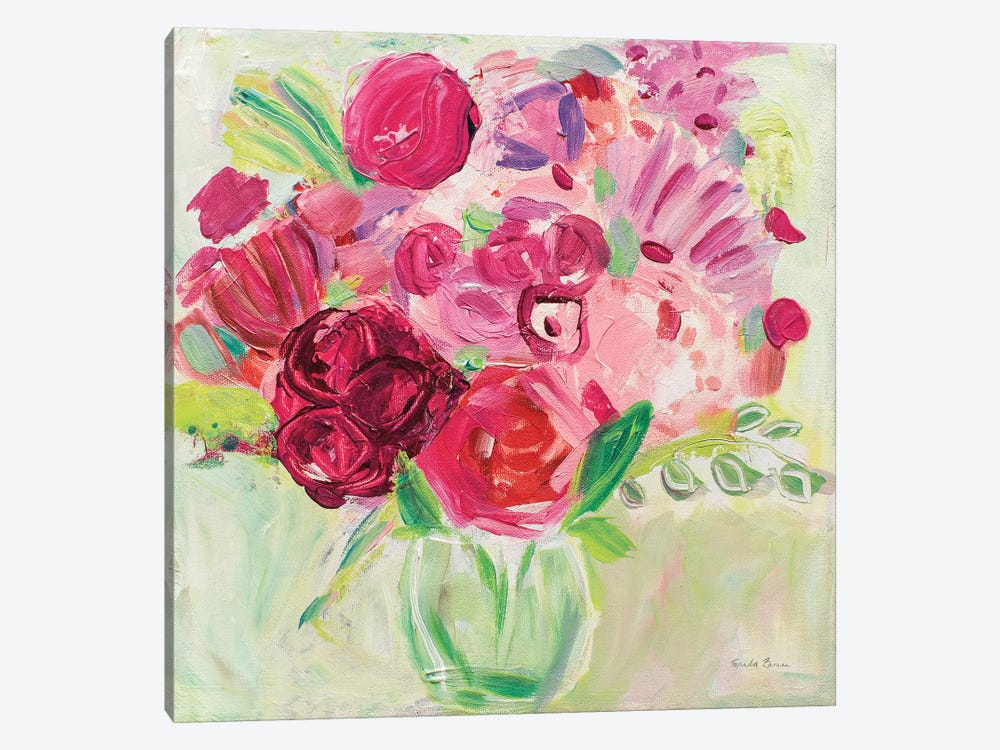 Pink And Red Florals by Farida Zaman 1-piece Canvas Print