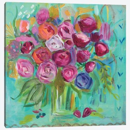 Pink Peonies Canvas Print #WAC7145} by Farida Zaman Canvas Art Print