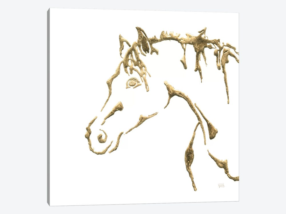 Gilded Cowpony On White by Chris Paschke 1-piece Canvas Wall Art