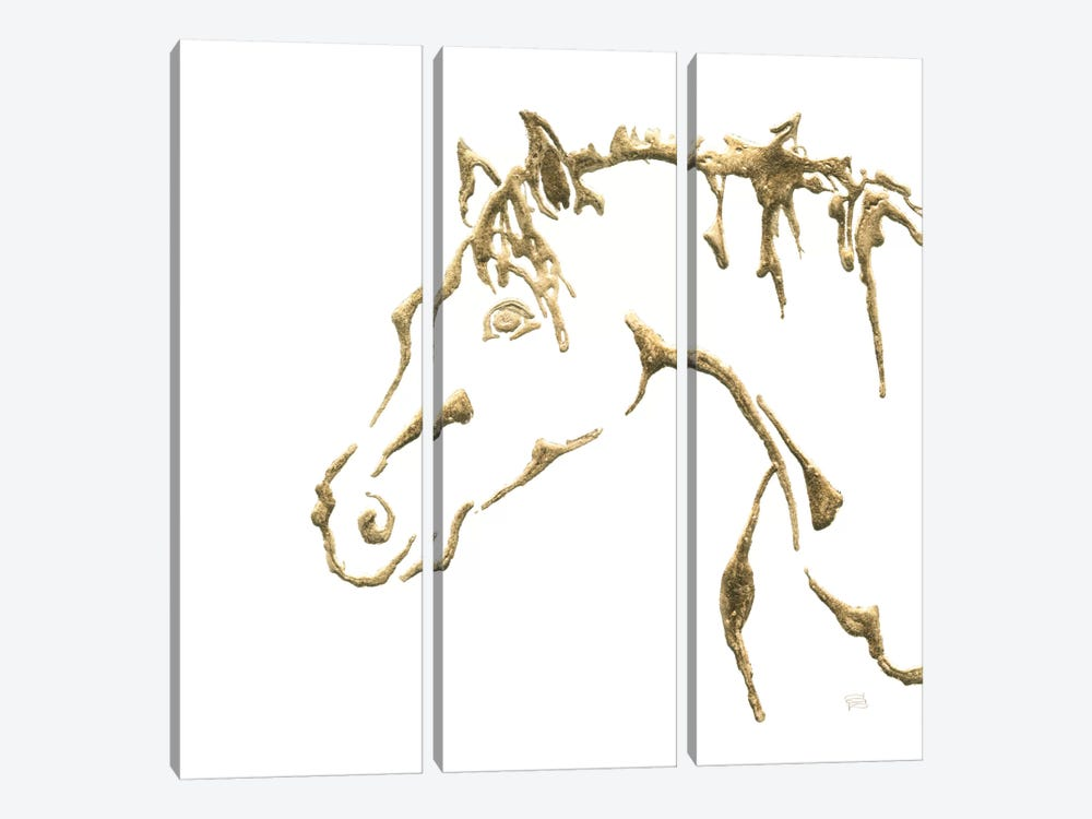 Gilded Cowpony On White by Chris Paschke 3-piece Canvas Artwork