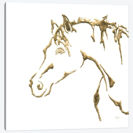 Gilded Cowpony On White 3-Piece Canvas #WAC7185} by Chris Paschke Canvas Print