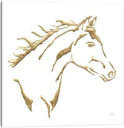 Gilded Filly On White Canvas Art Print