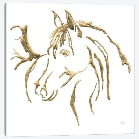 Gilded Mare On White Canvas Print #WAC7187} by Chris Paschke Canvas Print