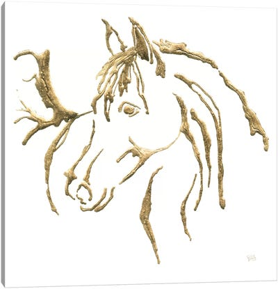 Gilded Mare On White Canvas Art Print