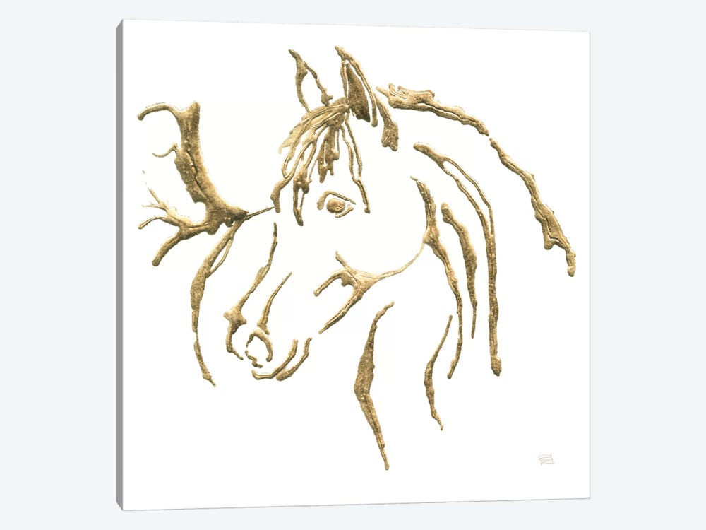 Gilded Mare On White by Chris Paschke 1-piece Canvas Art