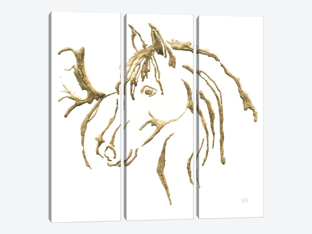 Gilded Mare On White by Chris Paschke 3-piece Canvas Art