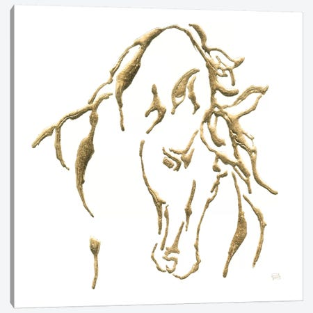 Gilded Stallion On White Canvas Print #WAC7188} by Chris Paschke Canvas Artwork